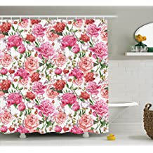 Ambesonne Watercolor Flower Decor Collection, Victorian Style Floral Pattern Painting Style Print with Peonies and Roses, Polyester Fabric Bathroom Shower Curtain Set with Hooks, Pink Red White