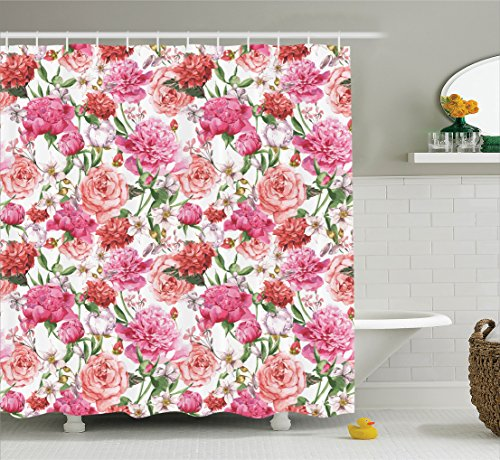 Watercolor Flower Decor Shower Curtain Set By Ambesonne, Victorian Style Floral Pattern Painting Style Print With Peonies And Roses, Bathroom Accessories, 69W X 70L Inches, Pink and White (Peony Roses)