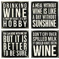 Primitives By Kathy 20018 posavasos clásicos en blanco y negro, de 4 vinos