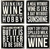 """Primitives By Kathy 20018 Box Style Drink Coasters, 4"""", Wine"""