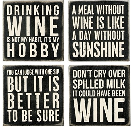 (Primitives By Kathy 20018 Classic Black and White Coasters, Set of 4, Wine)