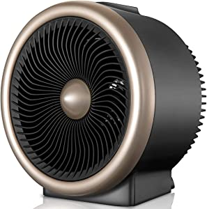 Pelonis PSH700G Space Vortex Heater with Air Circulator Fan, 2 in 1, 900W/1500W, ETL Listed, Auto Tip-Over Shut Off & Overheat Protection for All Seasons & Whole Room, Gold