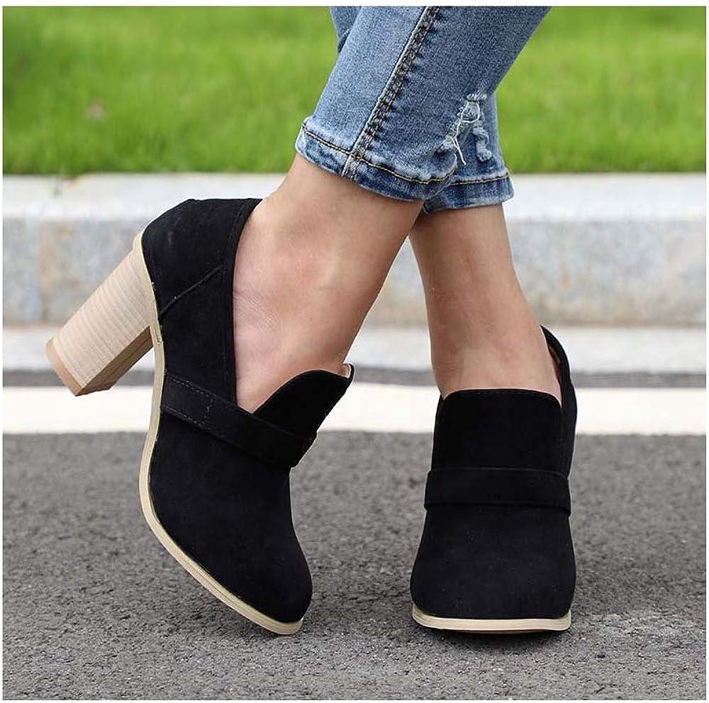 ZHEYU High Heels Women High Heels Retro Casual Shoes for Female Patchwork Flock Wood Heel Pumps Elegant Party Wedding Shoe