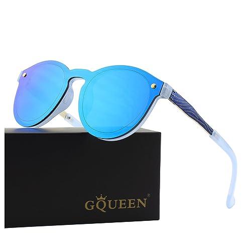 GQUEEN Futurista sin reborde protector de lente reflejado gafas de sol MEO5