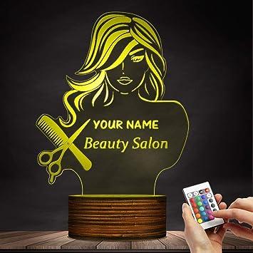 FORTR HOME Salon De Beauté 3D LED Veilleuse, Salon De Coiffure Coiffeur  Ciseaux Peigne Table