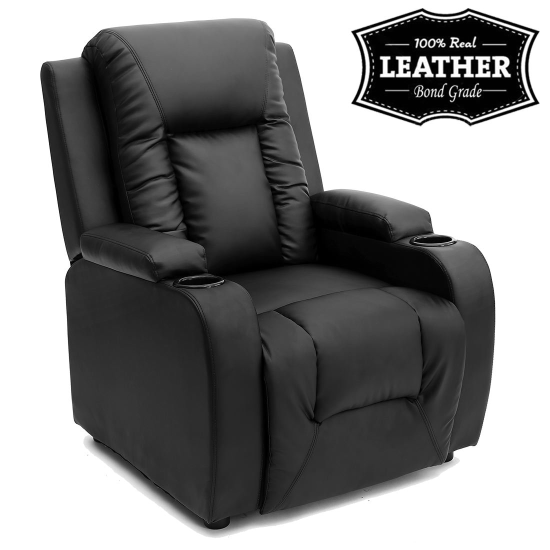 Superieur OSCAR LEATHER RECLINER W DRINK HOLDERS ARMCHAIR SOFA CHAIR RECLINING CINEMA  (Black): Amazon.co.uk: Kitchen U0026 Home