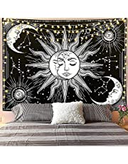 Jasion Moon and Sun Tapestry Burning Sun with Star Psychedelic Mystic Wall Hanging Poster Black and White Tapestry Art for Home Headboard Dorm Decor in 51x60 Inches