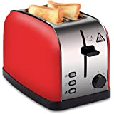 COSSCCI Toaster 2 Slice Red, Brushed Stainless Steel Toaster with Wide Slots,Removable Crumb Tray,High Lift Lever, Reheat Defrost and 7 Shade Setting