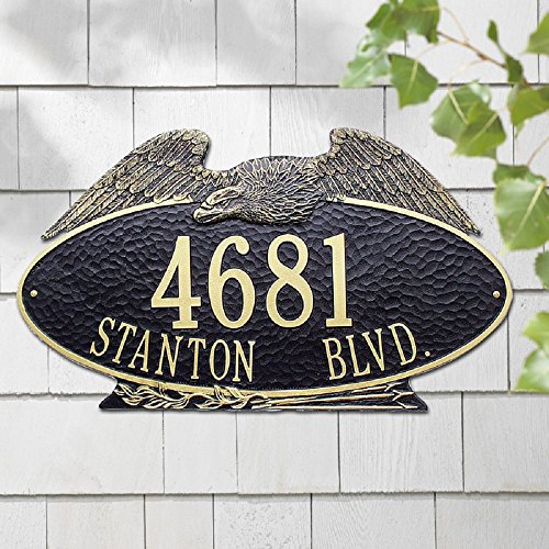 2 Lines Custom Oval Eagle Estate Wall Address Plaque (24 inches Wide by 14 inches High)