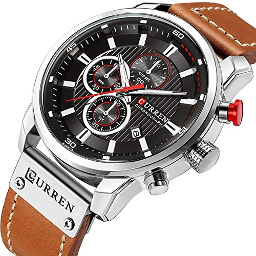 - Mens Leather Strap Watches Stainless Steel Classic Casual Dress Waterproof Chronograph Date Analog Quartz Watch (Silver)