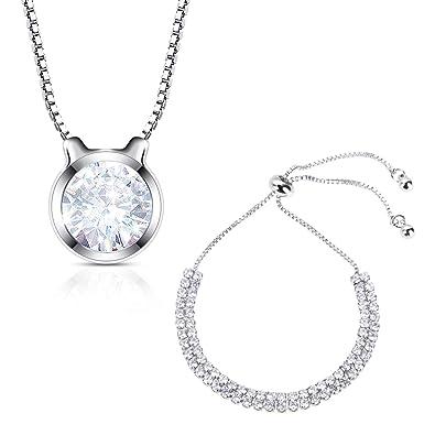 7a533e5183a Lictin Bracelet Collier - Bracelet Collier Réglable pour Femmes Filles  AAAAA Zircon Cubique Or Blanc Plaqué
