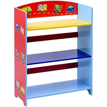 Costzon Kids Bookshelf 3 Tier Cars Book Rack Adorable Corner Organizer