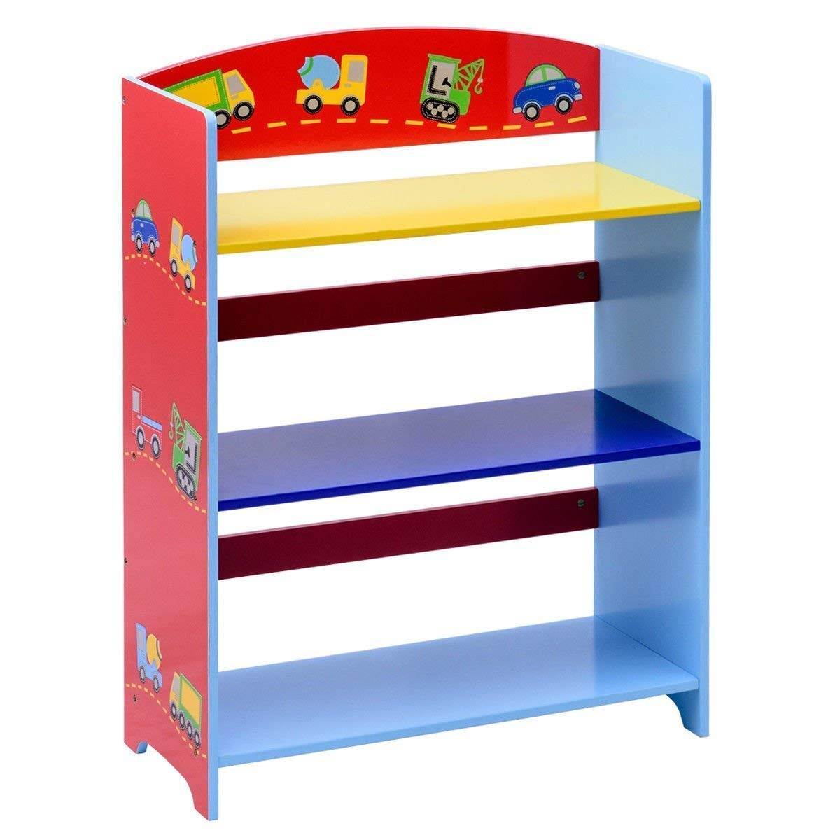 Costzon Kids Bookshelf, 3-Tier Cars Book Rack, Adorable Corner Book Organizer