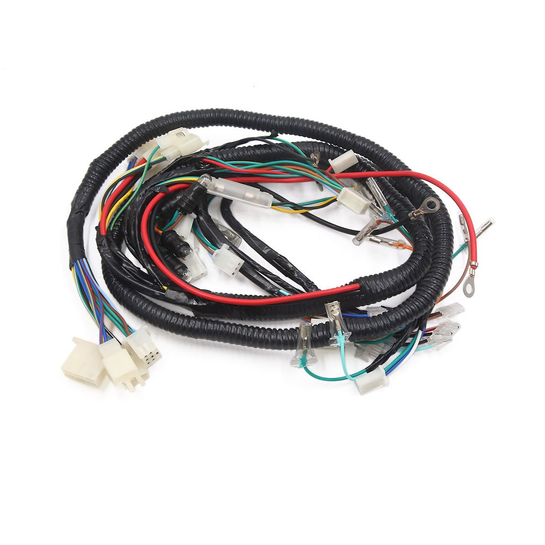 uxcell Female Motorcycle Electrical Scooter Main Wiring Harness Cable Assembly Black