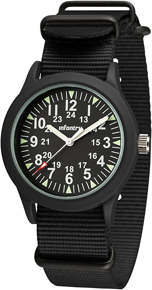 Amazon Com Infantry Mens Black Analog Military Watches For Men Field Tactical Army Wrist Watch 24 Hours Work Wristwatch With Nato Band Watches