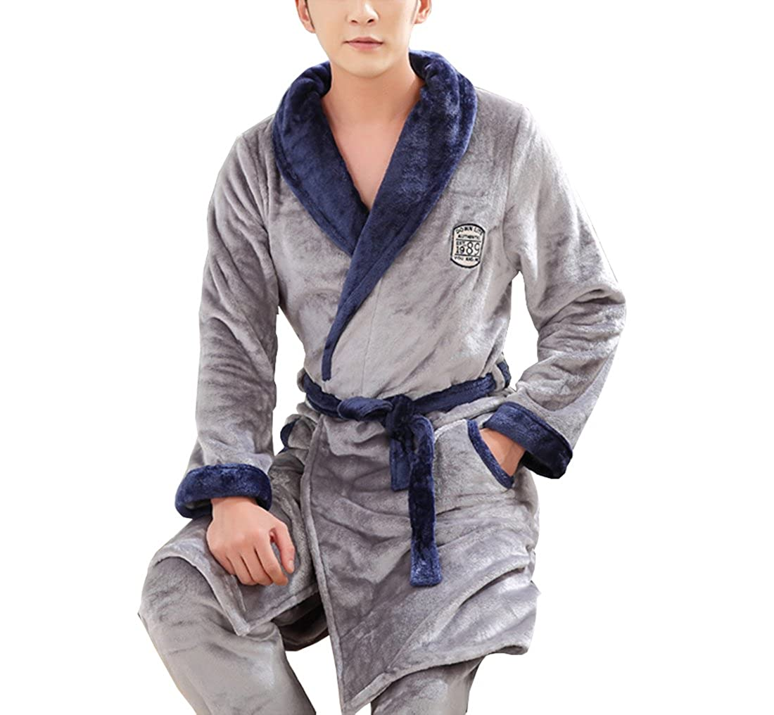 Respeedime Fall and Winter Flannel Robe Sets of Thickening Mens Warm  Bathrobe Pajamas Home Service at Amazon Men s Clothing store  b2a708399