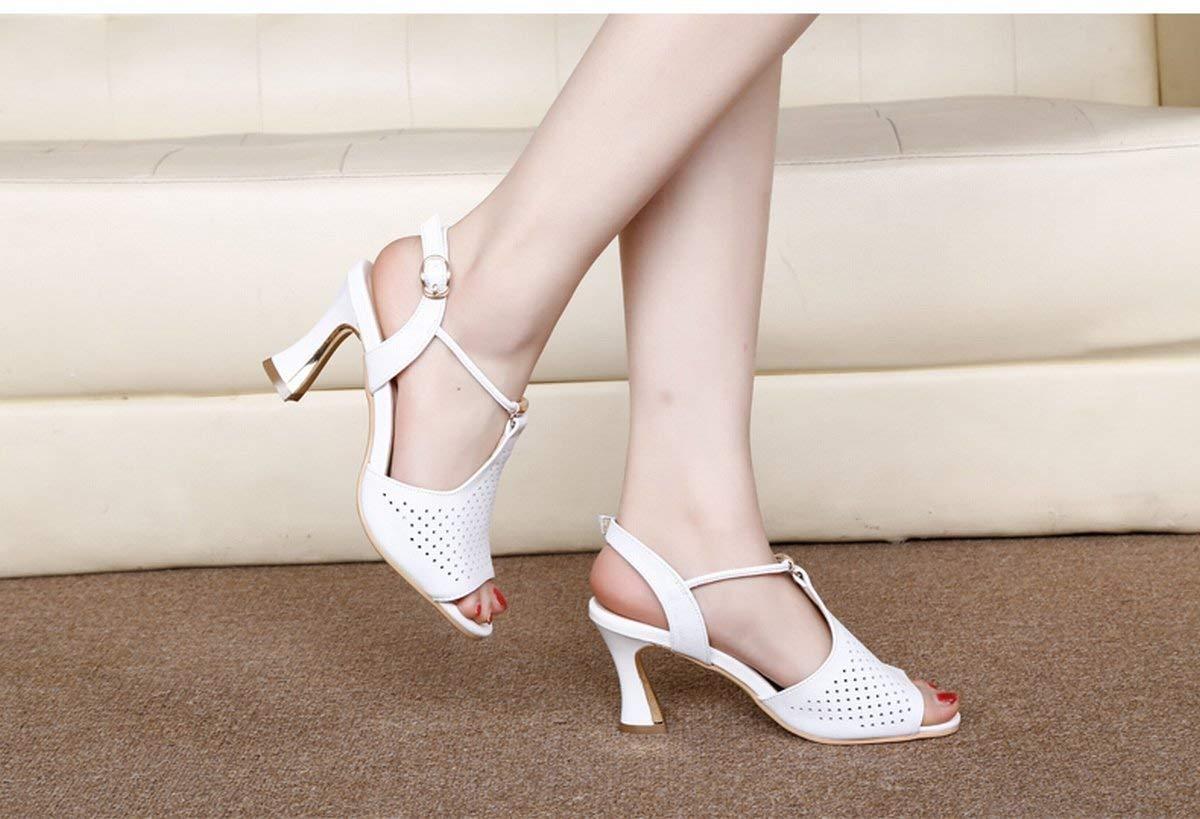 Oudan Sandali Sandali Sandali di Tacco Alto Moda Scarpe da Donna Ondulate Sandali da Donna Testa di Pesce Bianco (colore   Bianca, Dimensione   37) 8bed11