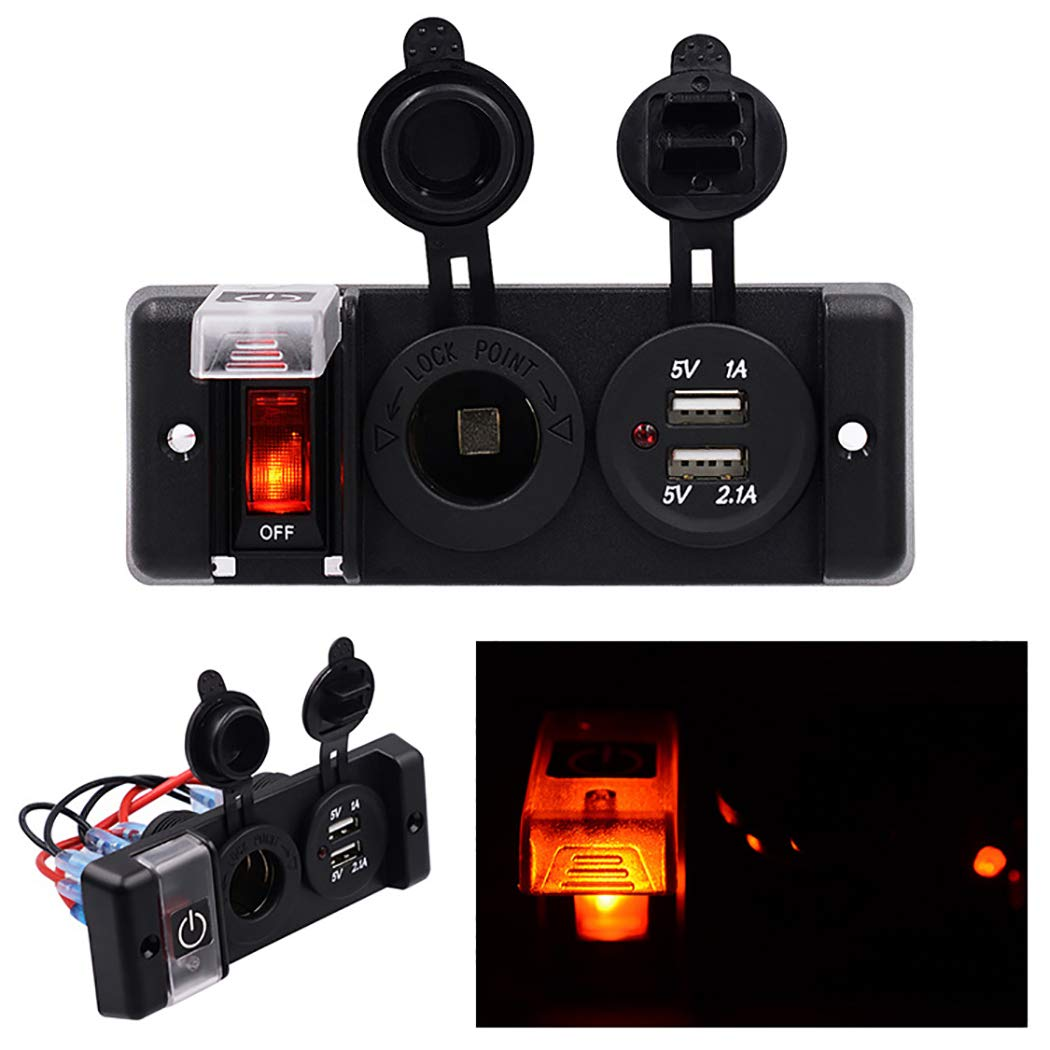 B bangcool Car Cigarette Lighter Waterproof Dual USB Port 12V Car Charger Car Adapter