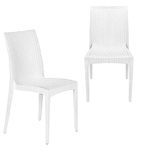 Furgle Dining Chair White Plastic Chairs of Mid Century Country Wicker Rattan Style Indoor Outdoor Waterproof Chic Furnitures for Kitchen Dining Room Balcony Porch Bistro Cafe Garden Patio Set of 2