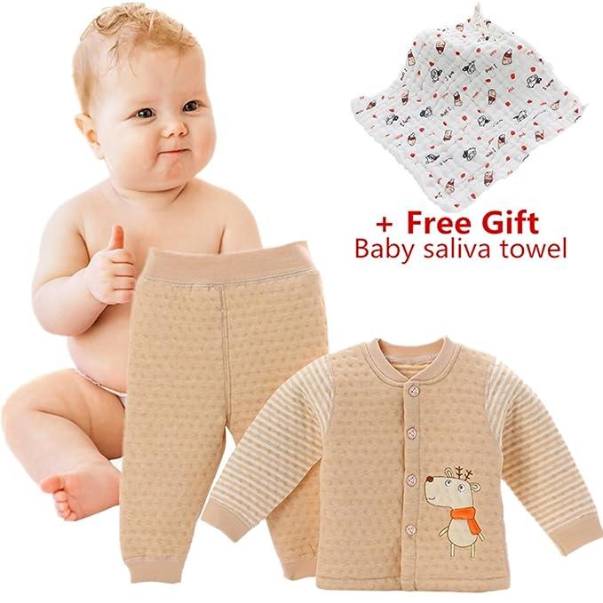 Pijamas de bebé, Chickwin Puros cálidos de algodón otoño e invierno y niños pequeños ropa