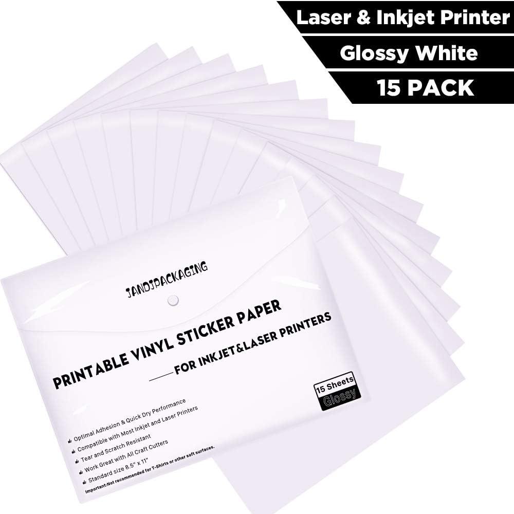 12 Sheets PHOTO Sticker Paper GLOSS WHITE STICKERS Inkjet Printer FULL 8.5x11