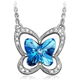 LADY COLOUR Blue Butterfly Pendant Necklace Women Jewelry with Crystals from Swarovski - Creat a fairy tale for her!
