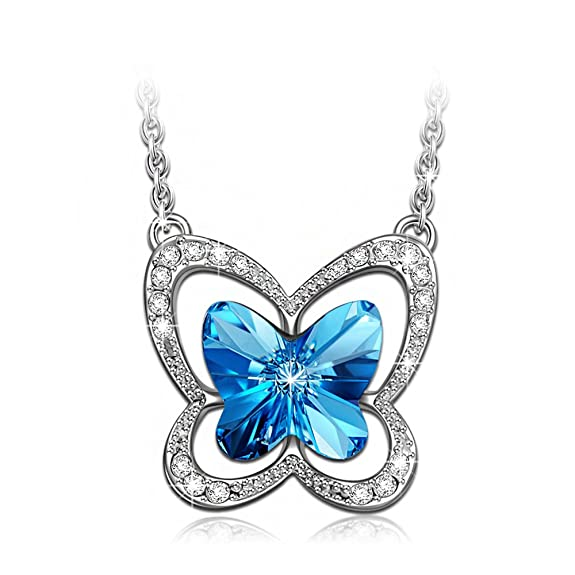 LADY COLOUR Mothers Day Gifts Necklace Blue Butterfly Swarovski Crystals Pendant Necklace Animal Jewelry for Her Teens Birthday Gifts for Girlfriend Daughter Niece Gifts for Wife Mom from Son Husband