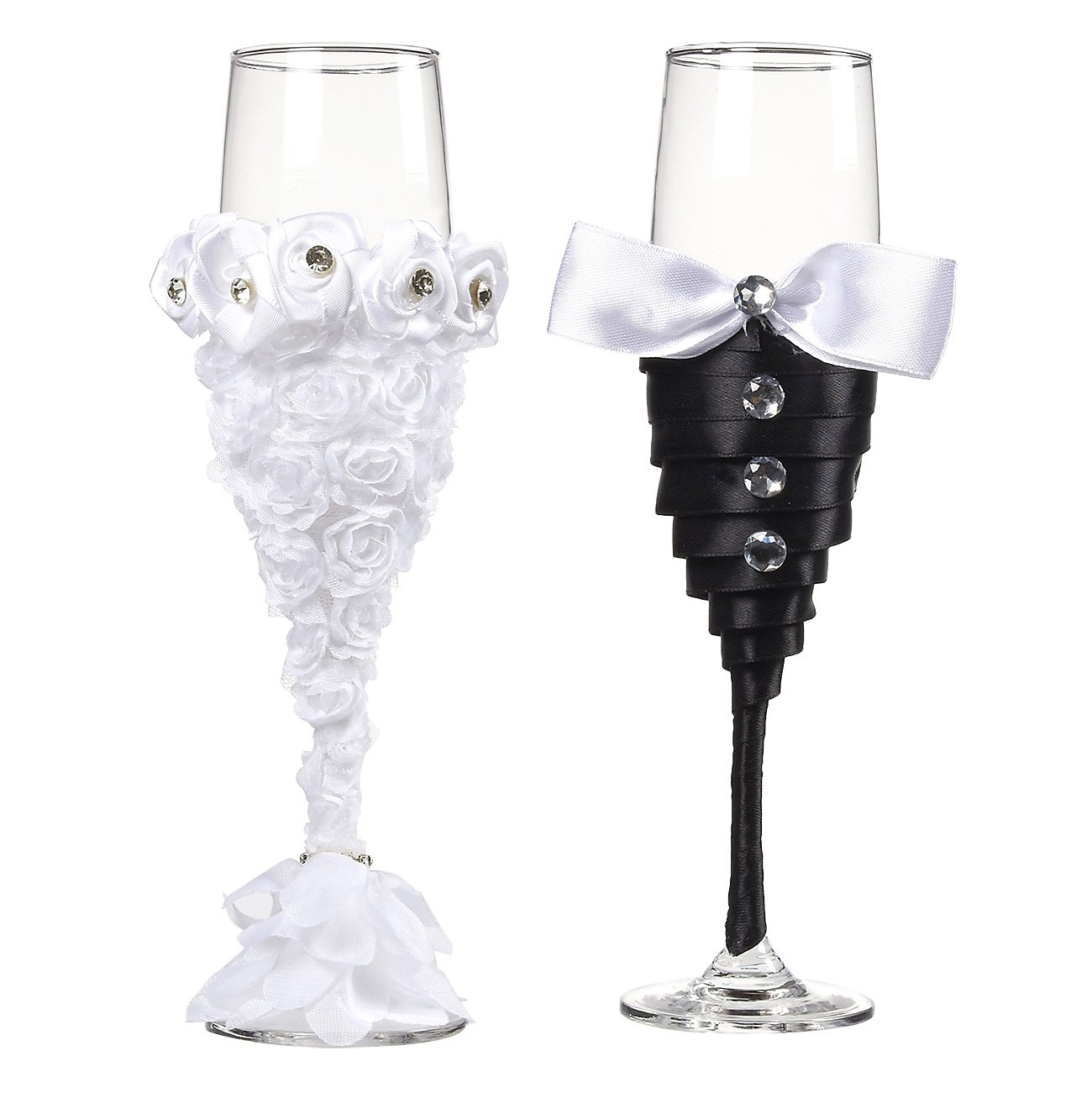 """Juvale Wedding Champagne Flute Glasses - 2-Count Champagne Glasses, """"Mr and Mrs"""" Toasting Flute Set, Decorative Drinking Glasses for Bride and Groom, Black and White, 6.2 Ounce"""