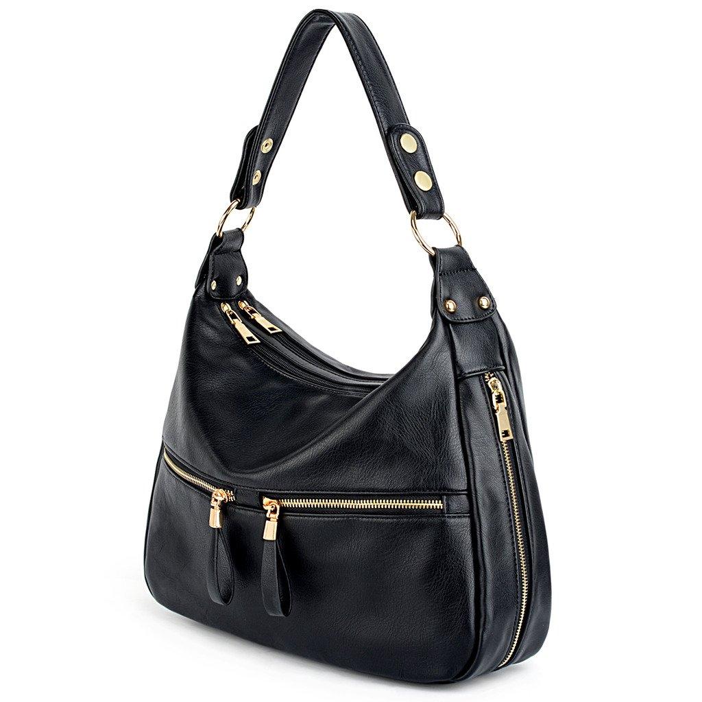UTO Women Handbag PU Leather Zipper Pocket Purse Hobo Style Shoulder Bag Black