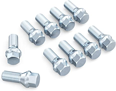 FEIPARTS 14x1.5 35mm 10PCS Silver wheel lug nuts fit for AUDI MERCEDES VW