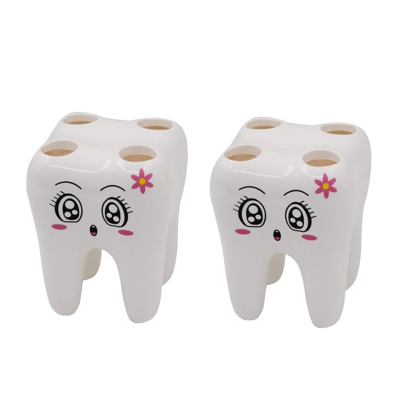 Portaspazzolino/organizer per bambini, Crivers Cartoon design Tooth forma del rasoio con 4fori (bianco, confezione da 2)