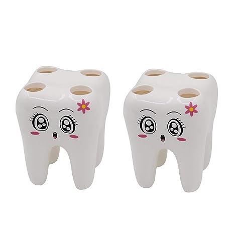 Cepillo de dientes titular/organizador para niños, crivers de dibujos animados dientes forma titular