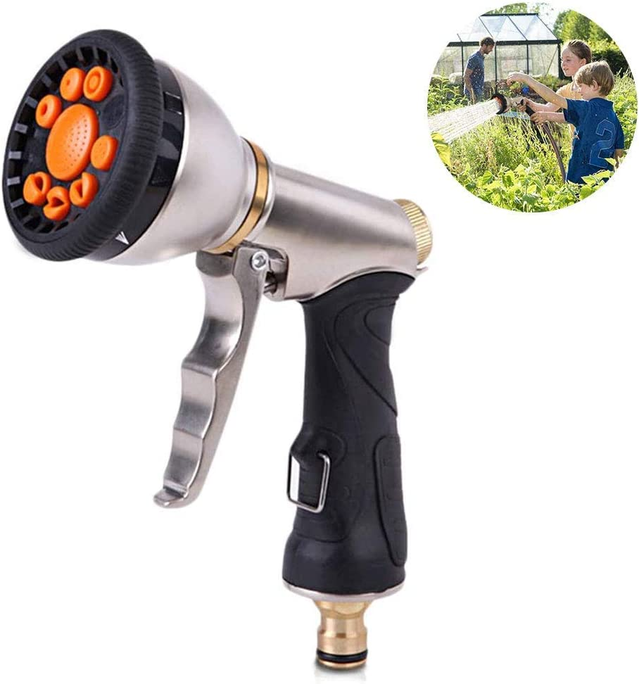 ZXL Garden Hose Nozzles with 9 Adjustable Patterns Hose Spray Sprinkler Heavy Duty Metal High Pressure Spray Nozzle Hose for Garden Watering Lawn Car Washing Cleaning Pets Wash