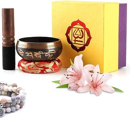 Juego de cuencos tibetanos con doble mazo, cojín de seda y caja de regalo para meditación,