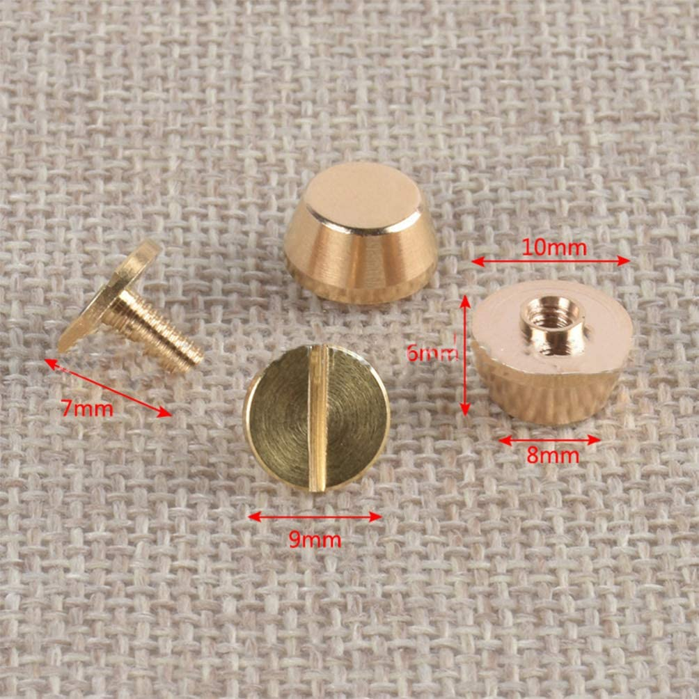 Milisten 10pcs Purse Handbag Feet Nailhead Flat Stud Solid Brass Screw-Back Spike Metal Cone Studs Rivet Leather DIY Craft
