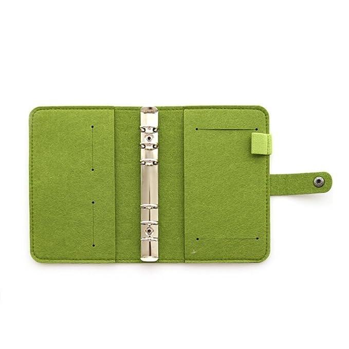 Funda de diario, tamaño A5, con 6 anillas, de fieltro, sin páginas de recambio., color A5 Green