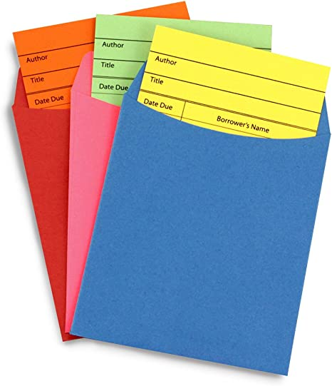 Inc 150 Colored Self-Adhesive Library Pockets and Cards Sets Hygloss Products