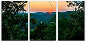 Sunset in The Amazing Arkansas Ozark Mountains Simply Beautiful Print Painting 3 Panel Home Decoration Paintings Wall Art Framework Canvas Prints Gallery for Living Room Wall Poster Hang Framed