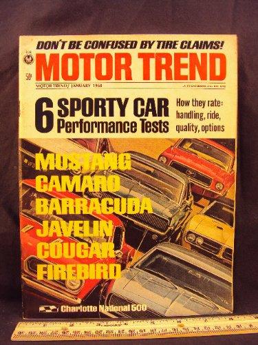 1968 68 January MOTOR TREND Magazine (Features: Performance Test on Mustang, Camaro, Barracuda, Javelin, Cougar, & - Performance Mustang Magazine