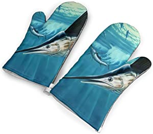 Antvinoler Swordfish Group Foraging Kitchen Oven Mitt,Nylon Long Microwave Oven Glove, Extreme Heat Resistant 572 Degree Nonslip Glove for Potholders Cooking, BBQ, Frying, Baking (1 Pair)