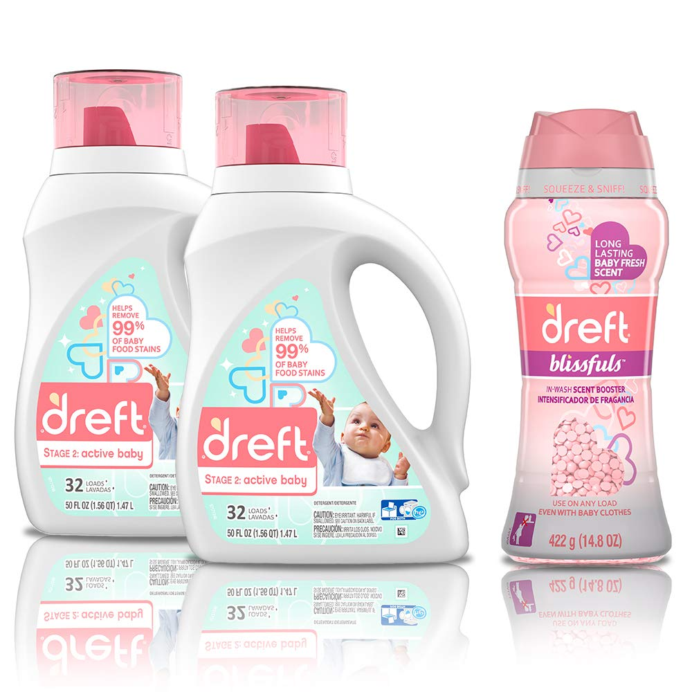 Dreft Stage 2: Active Hypoallergenic Liquid Baby Laundry Detergent for Baby, Newborn, or Infant, 50 Ounces(32 Loads), 2 Count with In-Wash Scent Booster Beads, Baby Fresh, 14.8 Ounce by Dreft