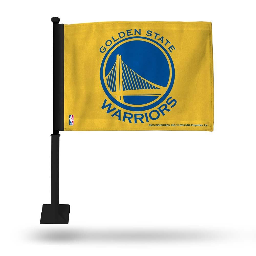 NBA Warriors Yellow Car Flag - Black Pole Sports Fan Automotive Flags, Multicolor, One Size