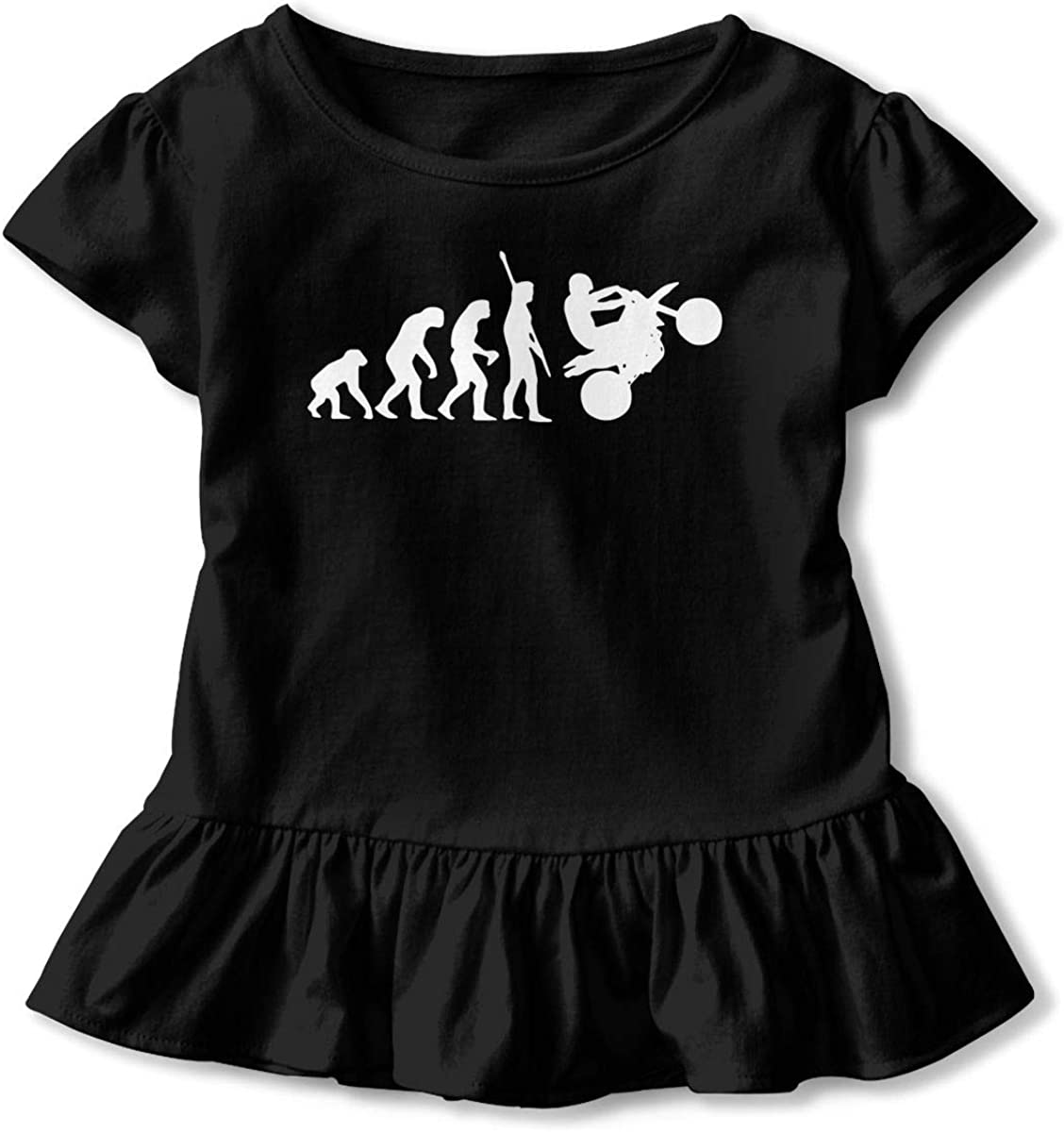 TRR8S//1 Human Evolution Motorcycle Car1 Funny Ruffle Cotton Tops Tee Clothes Graphic for Toddler Baby Girl Gift