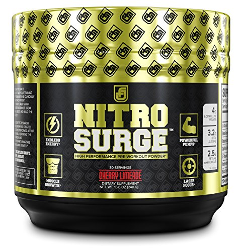 NITROSURGE Pre Workout Supplement – Endless Energy, More Strength, Sharp Focus, & Intense Pumps – Nitric Oxide Booster & Preworkout Energy Powder – 30 Serving, Cherry Limeaide ( 8.5 oz)