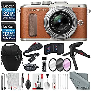 Olympus PEN E-PL8 Mirrorless Micro Four Thirds Digital Camera + 14-42mm Lens (Brown) Deluxe Bundle w/ 2X 32GB, Shoulder & Wrist Strap and Xpix Lens Accessories