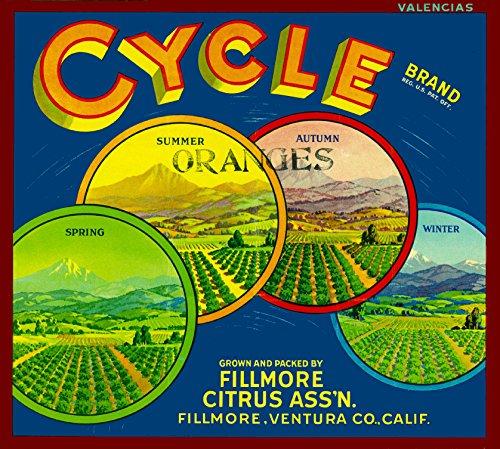 A SLICE IN TIME Fillmore Cycle Brand four seasons Orange Citrus Fruit Crate Box Label Art Print (Box Label Art)