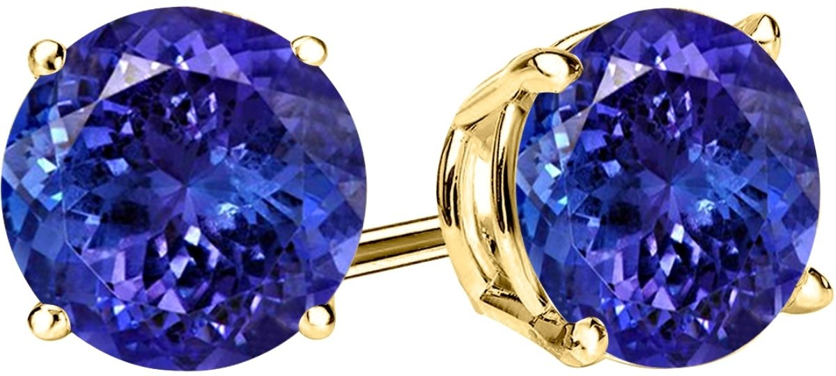 4 Carat Total Weight Tanzanite Solitaire Stud Earrings Pair 14K Yellow Gold Popular Premium Collection 4 Prong Push Back by Houston Diamond District