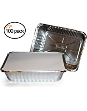 """TigerChef TC-20355 Durable Aluminum Oblong Foil Pan Containers with Clear Board Lids, 2-1/4 Pound Capacity, 8.44"""" x 5.89"""" x 1.8"""" Size (Pack of 100)"""