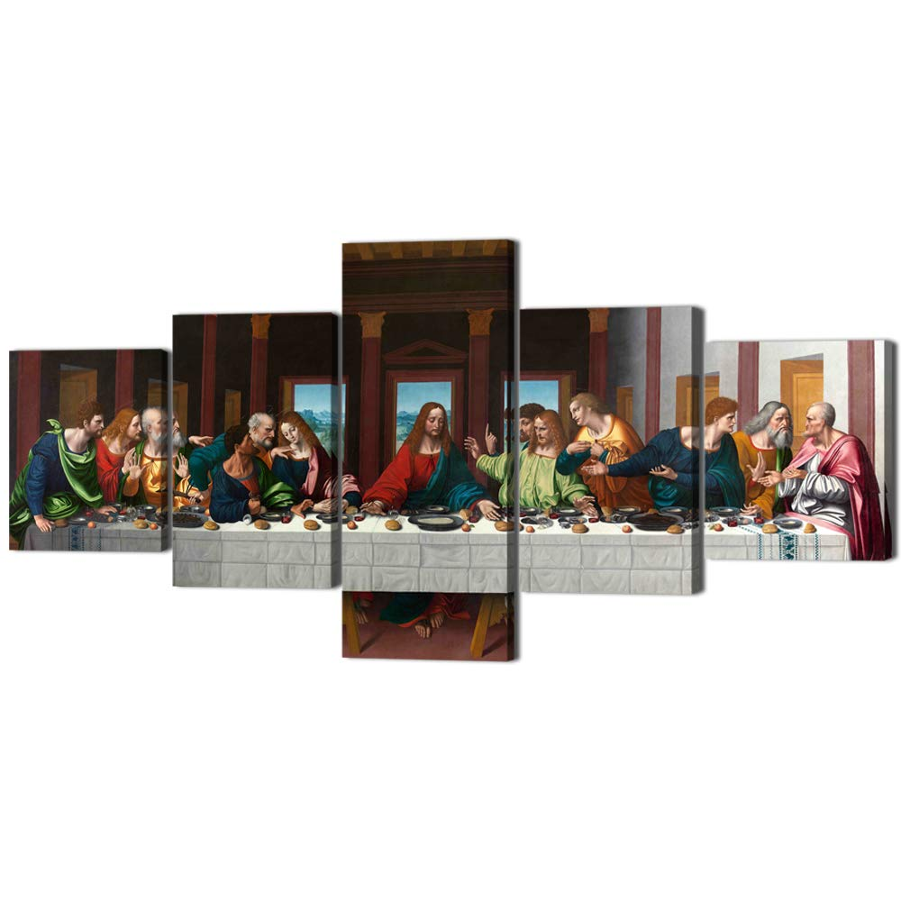 The Last Supper Painting on Canvas Wall Pictures for Living Room 5 Pieces Last Supper Wall Art Retro Vintage Wooden Modern Framed Posters and Prints Giclee Gallery Wrap Artwork Stretched (50''Wx24''H)
