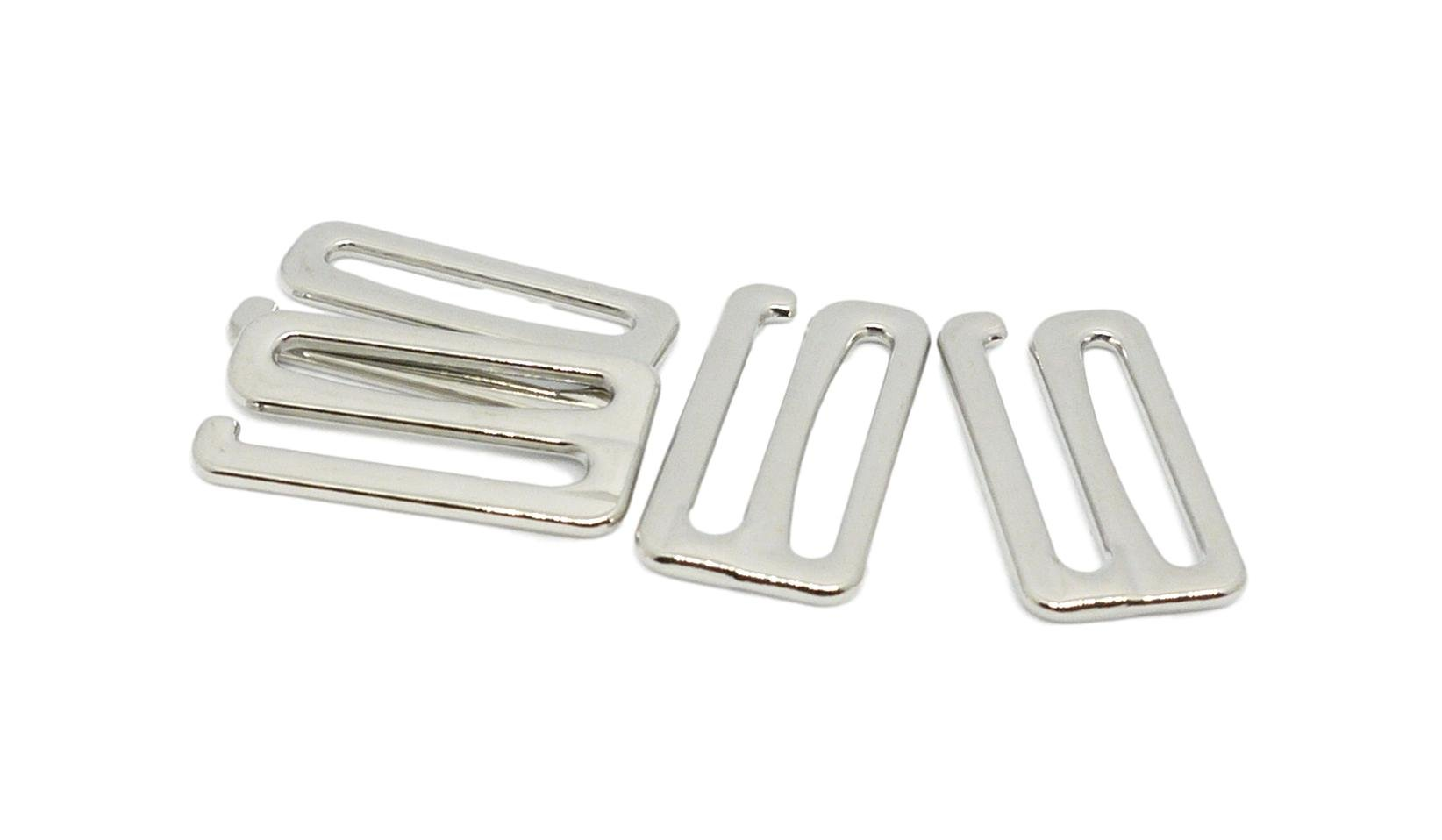 Porcelynne Silver Metal Alloy Replacement Bra Strap Slide Hook - 1'' (25mm) Opening - 10 Pairs (20 Pieces) by Porcelynne